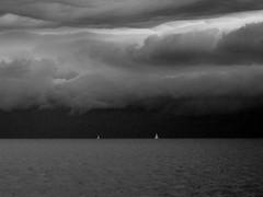 thunderstorm* (pjarc) Tags: europe europa 2010 temporale thunderstorm mare sea barche nuvole clouds mediterraneo mediterranean seascape impressione impression foto photo bw black white bianconero canon ixus vento wind cielo sky