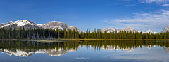 Bueller Panorama (Canon Queen Rocks (3,000,000 + views)) Tags: panorama landscape landscapes landschaft lake lakes reflections buellerpass mountains snowcapped bluesky blues nature naturephotography kananaskis alberta canada calm trees clouds colours water rockies