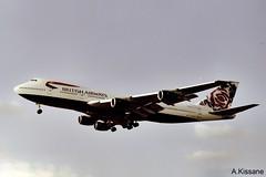BRITISH AIRWAYS B747 G-BDXK (Adrian.Kissane) Tags: sky london plane heathrow aircraft jet 1999 aeroplane jumbojet lhr b747 britishaw gbdxk airliner 23303