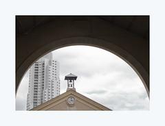 Melting pot (hélène chantemerle) Tags: courbe arche campanile horloge building ciel nuages curve arch belltower clock sky town city architecture