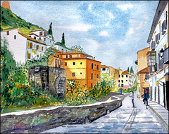 GMB_2872 (Dr Graham Beards) Tags: carreradeldarrogranadawatercolor darro granada andalucia alhambra spain watercolor townscape