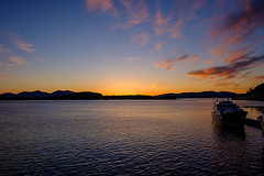 Sunset at Oban (San Francisco Gal) Tags: oban sunset highlands scotland boat cloud water bluehour