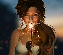 Sparkle of wishes (meriluu17) Tags: sparkle shine wish her portrait people closeup fire burn belleepoque monso foxcity lelutka glamaffair