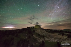 Flashes to the North (kevin-palmer) Tags: revagap southdakota custernationalforest june spring nikond750 sigma14mmf18 night sky dark space astronomy astrophotography stars starry north lightning flash storm thunderstorm green airglow thecastles scenic overlook clouds