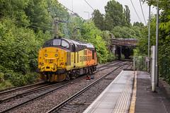 37219 going away Macclesfield 13062019 (TheSilkmoth) Tags: 37216 class37 jontyjarvis8121998to1832005 jontyjarvis colasrailfreight cheshirerailways macclesfieldstation 1750½traffordparktoderbyrtcnetworkrail trackinspection stp westcoastmainline wcml