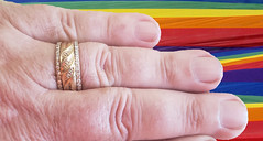 June 12, 2019 (365 Gay #2-295) (gaymay) Tags: california desert gay love palmsprings riversidecounty coachellavalley sonorandesert 365gay ring weddingring fingers rainbowflag