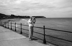 Waiting for the sunset (Mano Green) Tags: people person sea promenade front seaside coast water east scarborough town yorkshire england uk summer september 2016 canon eos 300 40mm 35mm film ilfosol s spson perfection v550 black white landscape man old bay