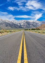 mountain road (Luc Mena Photography) Tags: ca usa eastern sierra california alabama hills road mountains mountain range mount whitney nature snow snowy clouds sky blue landscape outdoors vertical alone travel