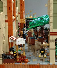 Walking the streets of Mophet (adde51) Tags: city wall cow cows lego market camel cheetah marketplace camels turret moc guardtower mophet cityguard guildsofhistorica adde51 tower fort kaliphlin swedishlegomafia