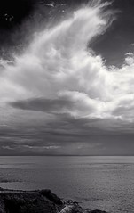 Spirit in the sky (L@nce) Tags: clouds skyscape sky monochrome bw sea salishsea juandefuca pacific ocean hollandpoint victoria britishcolumbia nikon canada