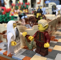 Discussions with sir Gideon... (adde51) Tags: city tower wall cow cows lego market fort camel cheetah marketplace camels turret moc guardtower mophet cityguard kaliphlin guildsofhistorica adde51 swedishlegomafia