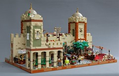 Protecting the city of Mophet - inside the walls (adde51) Tags: city tower wall cow cows lego market fort camel cheetah marketplace camels turret moc guardtower mophet cityguard kaliphlin guildsofhistorica adde51 swedishlegomafia