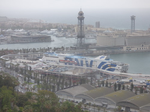 Port Vell Aerial Tramway from the Jardins del Mirador, Barcelona - Excellent cruise ship