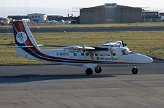 de-Havilland (Canada) DHC-6-300 (Twin Otter) G-BHFD Dan Air Metropolitan (EI-DTG) Tags: dehavillandcanada dhc6 twinotter turboprop danair gbhfd cwl cardiff 05sep1983