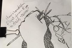 Crazy knitter's hands on flight from Riga, Latvia, to Oslo, Norway. 6/11/19 💜💛💗 (nina_ru.judson) Tags: travelsketching sketchingpeople crazyknitter urbansketching urbansketchers urbansketch
