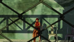 Don't we all come with our own fences? (Myra Wildmist) Tags: secondlife sl myrawildmist virtualart virtualphotography virtualworlds green red shadows fences chairs