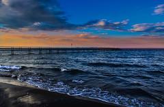 ...... (robertoburchi1949) Tags: sea seascape sunset tramonto cielo sky clouds nuvole mare paesaggio landscape blue colours waves