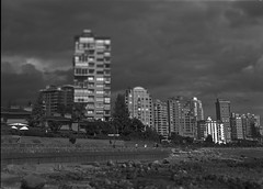 West Vancouver - Film Sinar (Photo Alan) Tags: westvancouver film filmcamera filmscan film120 largeformat building buildingcomplex blackwhite bw blackandwhite monochrome sky clouds waterfront