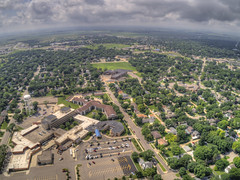 Marshall is a small College Town in South West Minnesota on the Prairie in Summer (JacobBoomsma) Tags: marshall summer town small city college storm clouds cloudy minnesota southern south west western prairie rural aerial view drone plane above suburban urban