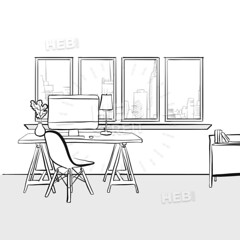 Empty home office (Hebstreits) Tags: back background black book business cabinet cartoon chair computer concept design desk desktop development doodle drawing drawn empty flat furniture graphic hand home house icon illustration inside interior internet isolated job lamp laptop modern office paper place room sketch space style symbol table vector view white window work workplace workspace