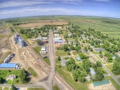 Page is a small Farming Town in North Dakota (JacobBoomsma) Tags: page north dakota small farming agricultural nowhere town village summer aerial view drone above