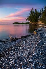 Peaceful Sunset at Secret Beach (skybluerenee) Tags: sunset pinksky beach lake lakechamplain vermont shelburne shelburnefarms