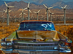 Better Days (oybay©) Tags: cadillac desert palmdesert windmills abandoned power glory powerandtheglory showtime large oversized color colors colorful enmasse windpower unusual junker coolcar