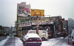 (David Chee) Tags: canon new sure shot af35m ii autoboy 2 kodak ultramax 400 newyork nyc brooklyn williamsburg metropolitan car auto repair snow graffiti street film analog