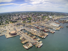 New Bedford is a small Coastal Town in Massachusetts (JacobBoomsma) Tags: city massachusetts blue day earth water north urban planet america new travel continent seaport newengland world river landscape fairhaven acushnetriver bristolcounty geography buoy waterfront harbor bedford states united usa outside newbedford port outdoors aerial drone above birds eye view