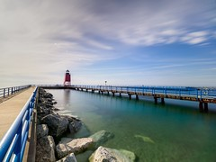 Calm Evening in Charlevoix (mjhedge) Tags: olympus getolympus omd em1ii 714mmf28pro 714mm 714 nisi nd water lighthouse michigan charlevoix lakemichigan sky clouds omdem1ii blue lines rrs reallyrightstuff