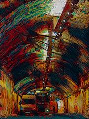 Springing a Leake (Steve Taylor (Photography)) Tags: digitalart light colourful uk gb england greatbritain unitedkingdom london texture truck van spotlights leakestreet airship tunnel zepplin thevaults