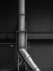 Vent Pipe and Wall (Nick Condon) Tags: abstract alley blackandwhite chicago miraclemile olympus75mm olympusem10 pipe wall