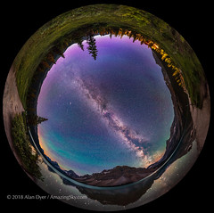 Bow Lake by Night Panorama (Spherical) (Amazing Sky Photography) Tags: bowlake banffnationalpark bowpeak rockymountains nightscape panorama stars mountains reflection airglow 360° geniemini ptgui