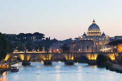 Evening in Rome (PeterY5) Tags: rome vatican basilica ponte santangelo angelo bridge peters st italy tiber river