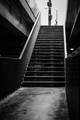 Walking up to Michigan Ave (dharder9475) Tags: 2015 bw blackandwhite michiganavenue privpublic stairs underchicagoseries
