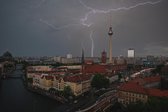 Thunderstorm in the City (Berlin/Germany) (Light Levels Photoworks) Tags: allemagne adventure atmosphere alexanderplatz berlin berliner fernsehturm city cityscape clouds deutschland d750 dom earth eclair germany gewitter landscape landschaft blitz nikon nikkor outdoor perspectives paysage photography perspektive rathaus street urban view viewpoints wetter wolken weather meteo thunderstorm thunder lightning