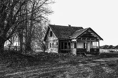 Vale, Oregon (paccode) Tags: solemn shack landscape bushes brush serious quiet blackwhite monochrome abandoned barn tree oregon creepy house home farm scary d850 forgotten dirtroad field vale unitedstatesofamerica