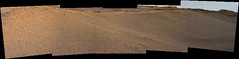 Sand Dune and Hills, variant (sjrankin) Tags: 14june2019 edited nasa mars msl curiosity galecrater panorama rocks sand dust sky haze mountsharp hills mountains sanddunes