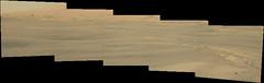Sand and the Base of Mount Sharp (sjrankin) Tags: 14june2019 edited nasa mars msl curiosity galecrater panorama rocks sand dust sky haze mountsharp hills mountains sanddunes