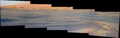 Sand and the Base of Mount Sharp, variant (sjrankin) Tags: 14june2019 edited nasa mars msl curiosity galecrater panorama rocks sand dust sky haze mountsharp hills mountains sanddunes