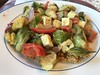 Mustardy Brussels sprouts and red pepper with tofu, yellow squash, and red onion on paprika-scented quinoa (TomChatt) Tags: food homecooking parttimevegetarian glutenfree