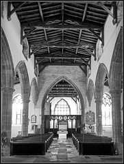 From within. (Jason 87030) Tags: inside interior church stmary holy religion christianity northants northamptonshire building architecture bw bbw black white noir blanc frame pew altar view indoors tones windows beams roof light lighting mono uk england english