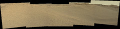 Sand Dune and Hills (sjrankin) Tags: 14june2019 edited nasa mars msl curiosity galecrater panorama rocks sand dust sky haze mountsharp hills mountains sanddunes