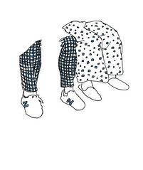 Squares and Stripes. Ginza Line, Tokyo. April 2019 (stevefaradaysketches) Tags: underground passengers clothes urbansketch urbansketchers usk inkdrawing illustration onlocation fineliner shoes tokyo ginza japan
