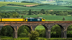 37025 (Peter Leigh50) Tags: train trees track railway railroad rail rural yellow harringworth welland valley viaduct bridge countryside class 37 colas test fujifilm fuji xt2