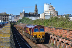 On The Rise (whosoever2) Tags: uk united kingdom gb great britain scotland nikon d7100 train railway railroad june 2019 dundee cityquay dbcargo class66 66160 6a32 mossend aberdeen church spire cemex tunnel camperdown