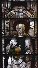 Fairford, Gloucestershire, St. Mary's church, stained-glass window # 10:  St. John the evangelist (groenling) Tags: fairford gloucestershire glos england britain greatbritain gb uk stmaryschurch stainedglasswindow stainedglass glass flower barley saint apostle disciple john chalice serpent evangelist