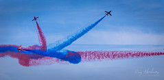 Breaking Off (RTA Photography) Tags: theredarrows raf torbayairshow2019 torbayairshow airshow rtaphography smoketrails red blue sky fast jets hawkjets tamron70300 nikond750