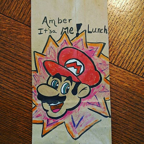 It's a me... Lunch! Nintendo week ends the only way it could. With the super Italian plumber, Mario. . . . . . #coffeeup #cartoon #brushpen #sketchy #sketchbook #brownpaperbag #camp #kuretake #kuretakezig #mario #mariokart #lunchbag #sotd #arttherapy #wor