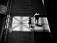 Family ties (明遊快) Tags: monochrome silhouette dark step light sun girl city shadows people lines contrast holiday happyplanet asiafavorites